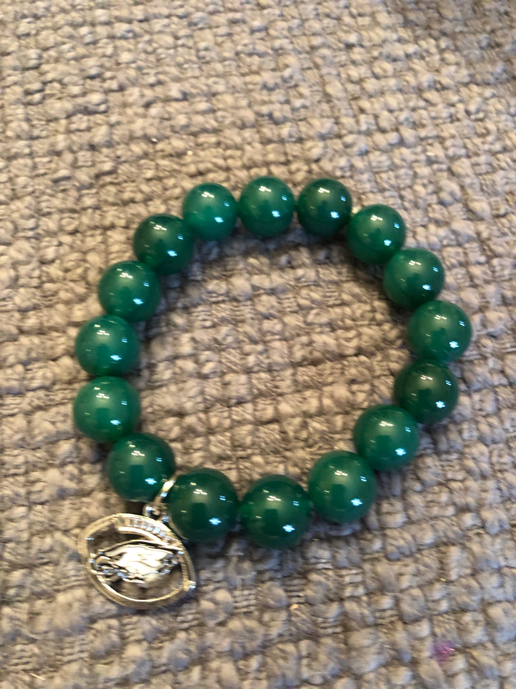 10mm Green Agate Eagles Bracelet