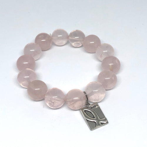 14mm Rose Quartz with Breast Cancer Awareness Ribbon