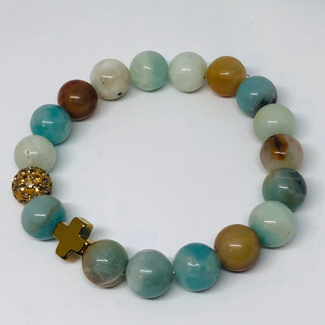 Natural Amazonite and Gold Hematite Cross Hope Collection Bracelet