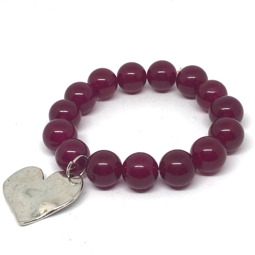 14mm Berry Jade with Silver Hammered Heart