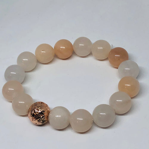12mm Pink Aventurine with Rose Gold-Plated Lava Bead