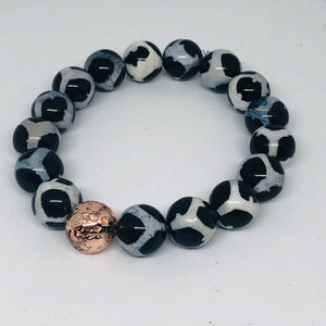 12mm Black & White Tibetan Agate with Rose Gold-Plated Lava Bead