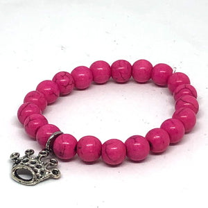 8mm Hot Pink Howlite with Silver Crown