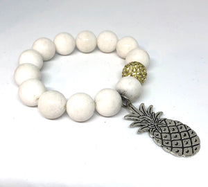 14mm White Jade with Citrine Pave and Silver Pineapple