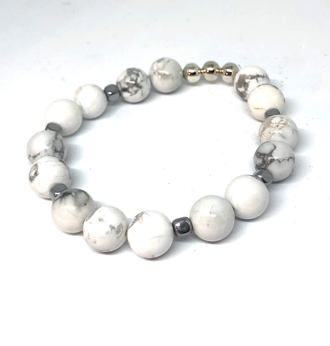 Howlite and Silver Accent Layering Bracelet