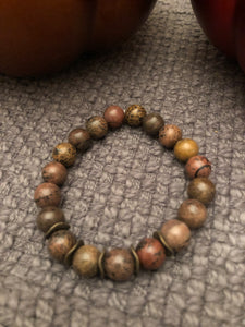 10mm Flower Jasper with Bronze Metal Accents