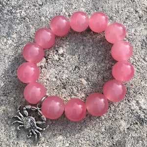 14mm Pink Jade with Silver Crab