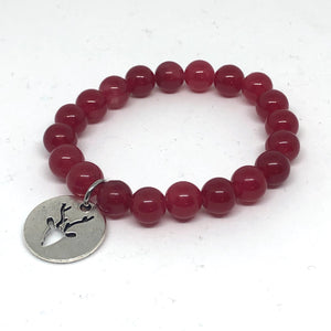 8mm Red Jade with Silver Reindeer