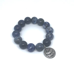 14mm Sodalite Jasper with Silver Lotus Medal