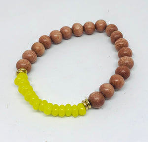 8mm Lime Java Glass and Rosewood Diffuser Bracelet