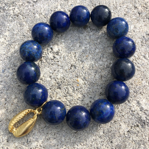 14mm Lapis with Gold Puka Shell