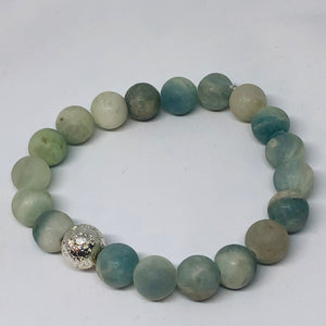 10mm Matte Aqua Agate with Silver-Plated Lava Bead
