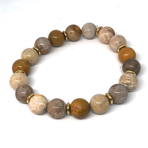 Coral Jasper and Gold Accent Layering Bracelet