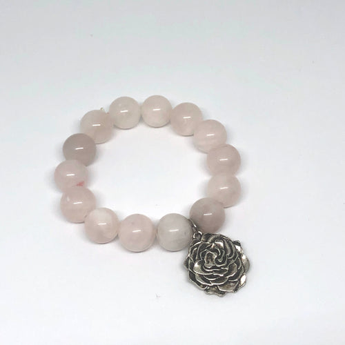 14mm Rose Quartz with rose medal