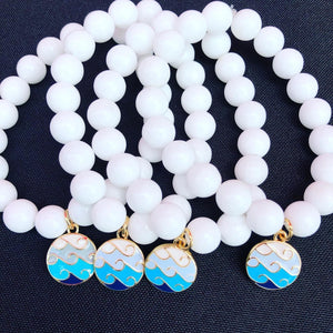 10mm White Jade with Enamel Wave Charm