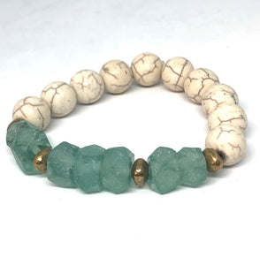 Green Sea Glass and Howlite with African Brass