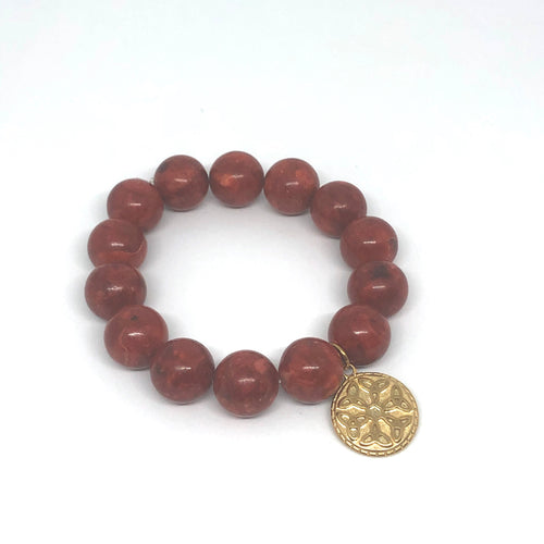 14mm Red Coral Jasper with Brass Trinity Knot Medal