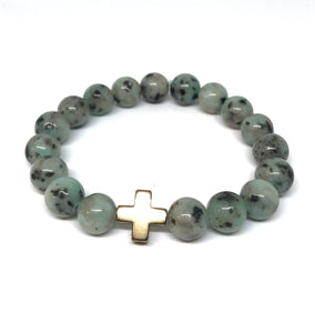 Kiwi Jasper and Champagne Hematite Cross Hope Collection Bracelet
