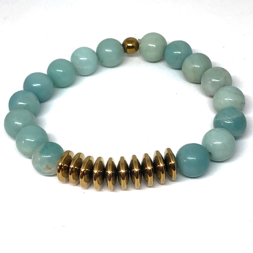 Amazonite and Gold Hematite Free Spirit Layering Bracelet