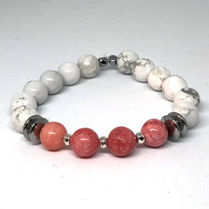 Howlite and Pink Quartz Indie Bracelet