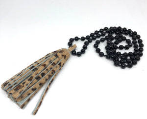 Black Onyx Hand-Knotted Robe Necklace