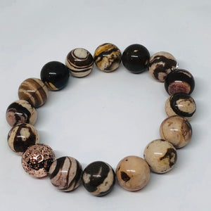 12mm Zebra Jasper with Rose Gold-Plated Lava Bead