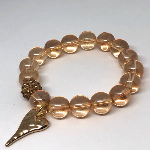 12mm Champagne Quartz with Golden Hammered Heart