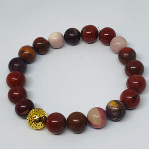 10mm Mookaite Jasper with Gold-Plated Lava Bead