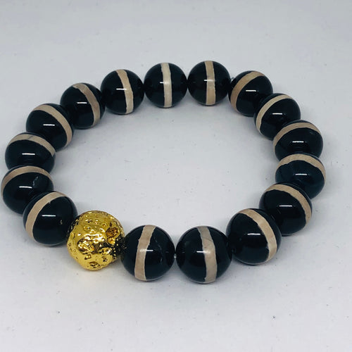 12mm Black Stripe Tibetan Agate with 14K Gold-Plated Lava Bead