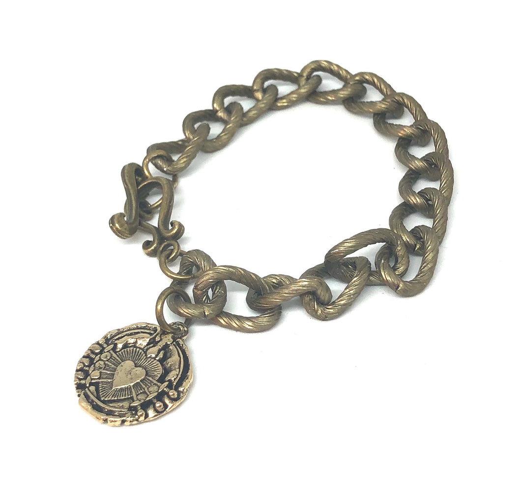 Antique Brass Chain Link Bracelet with Immaculate Heart of the Seven Sorrows Medal