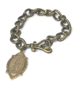 Antique Brass Chain Link Bracelet with Blessed MothervMedal