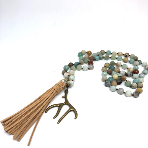 Amazonite Hand-Knotted Rope Necklace