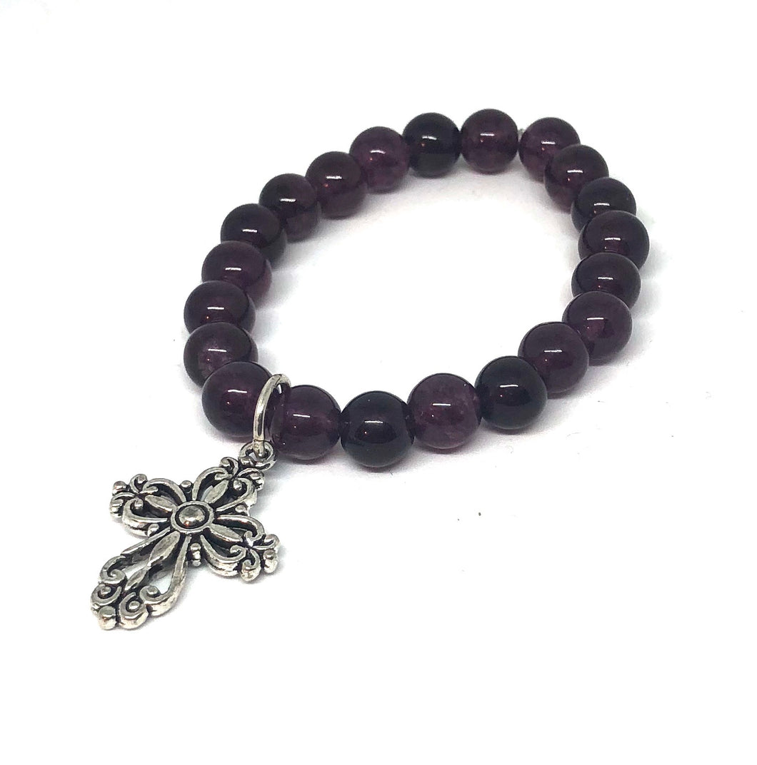8mm Purple Jade with Silver Cross
