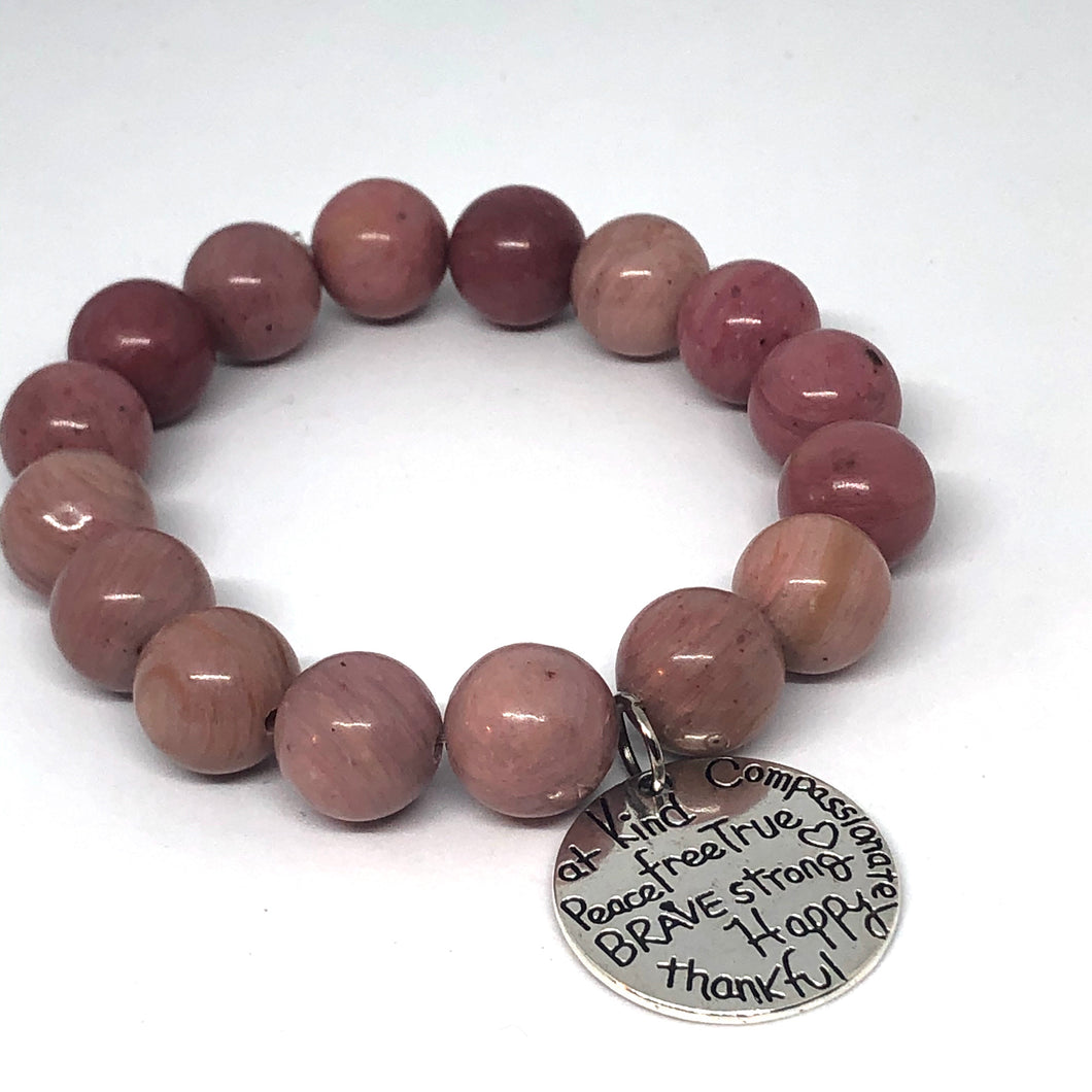 12mm Rhodonite with Kind Heart Medal