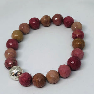 10mm Rhodonite with Silver-Plated Lava Bead