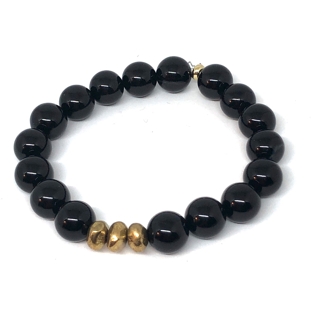 Black Onyx and Gold Accent Layering Bracelet