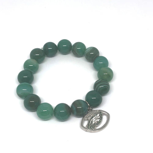 12mm Green Stripe Agate with Eagles Medal