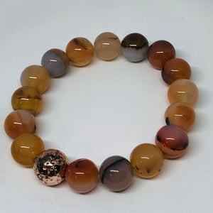 12mm Sunset Agate with Rose Gold-Plated Lava Bead
