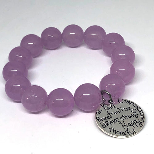 14mm Lilac Jade with Kind Heart Medal