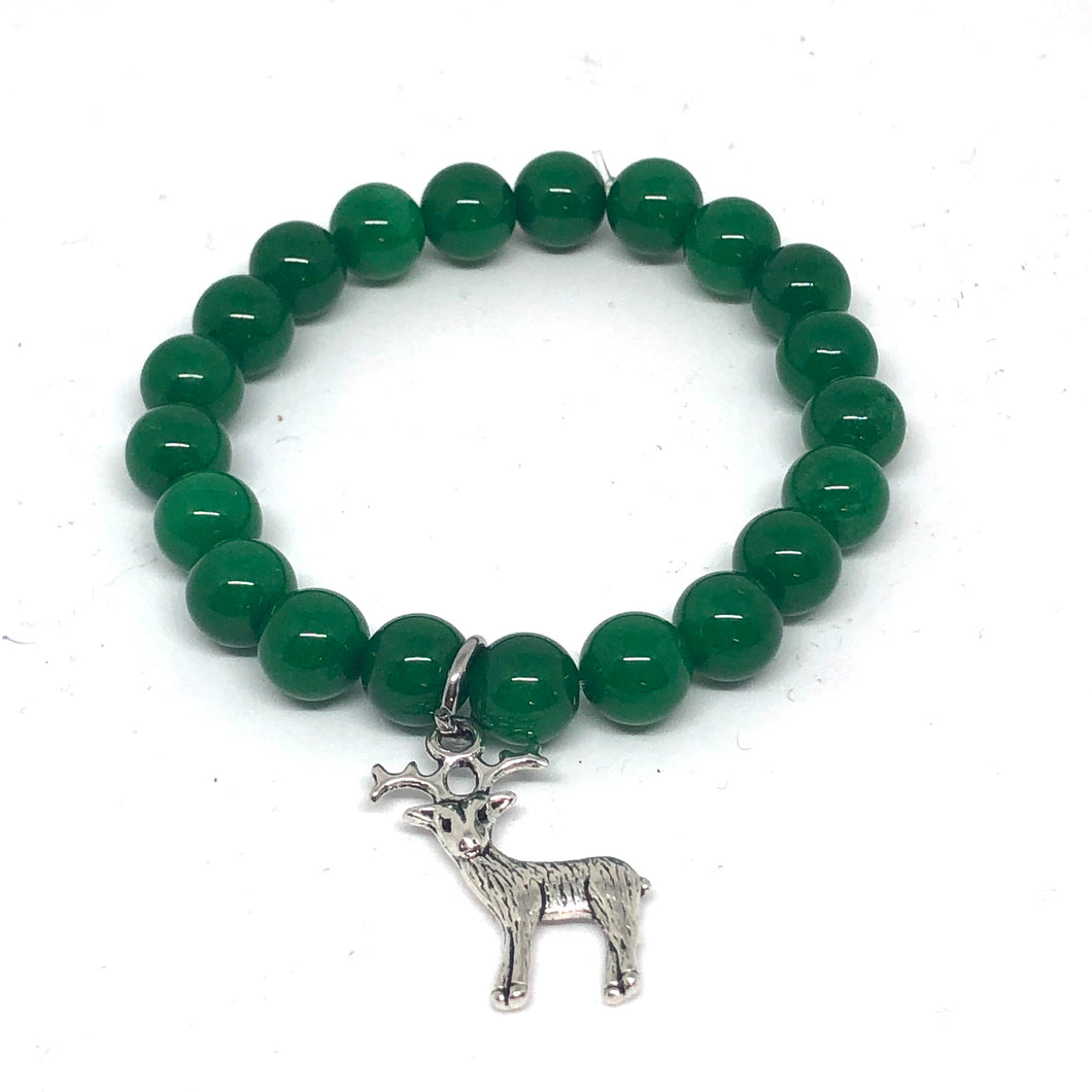 8mm Green Jade with Silver Reindeer