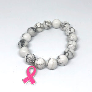 12mm White Howlite with Breast Cancer Awareness Ribbon