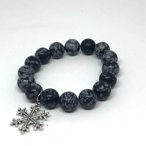 12mm Snowflake Obsidian with snowflake medal