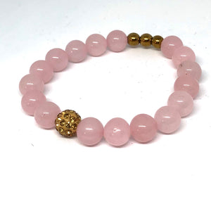 Rose Quartz and Gold Pave Bracelet