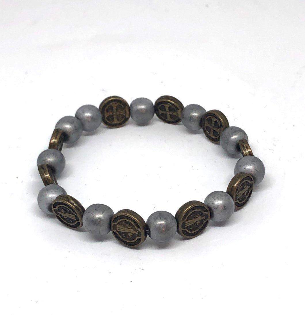 8mm St. Benedict And Matte Hematite Protection Bracelet
