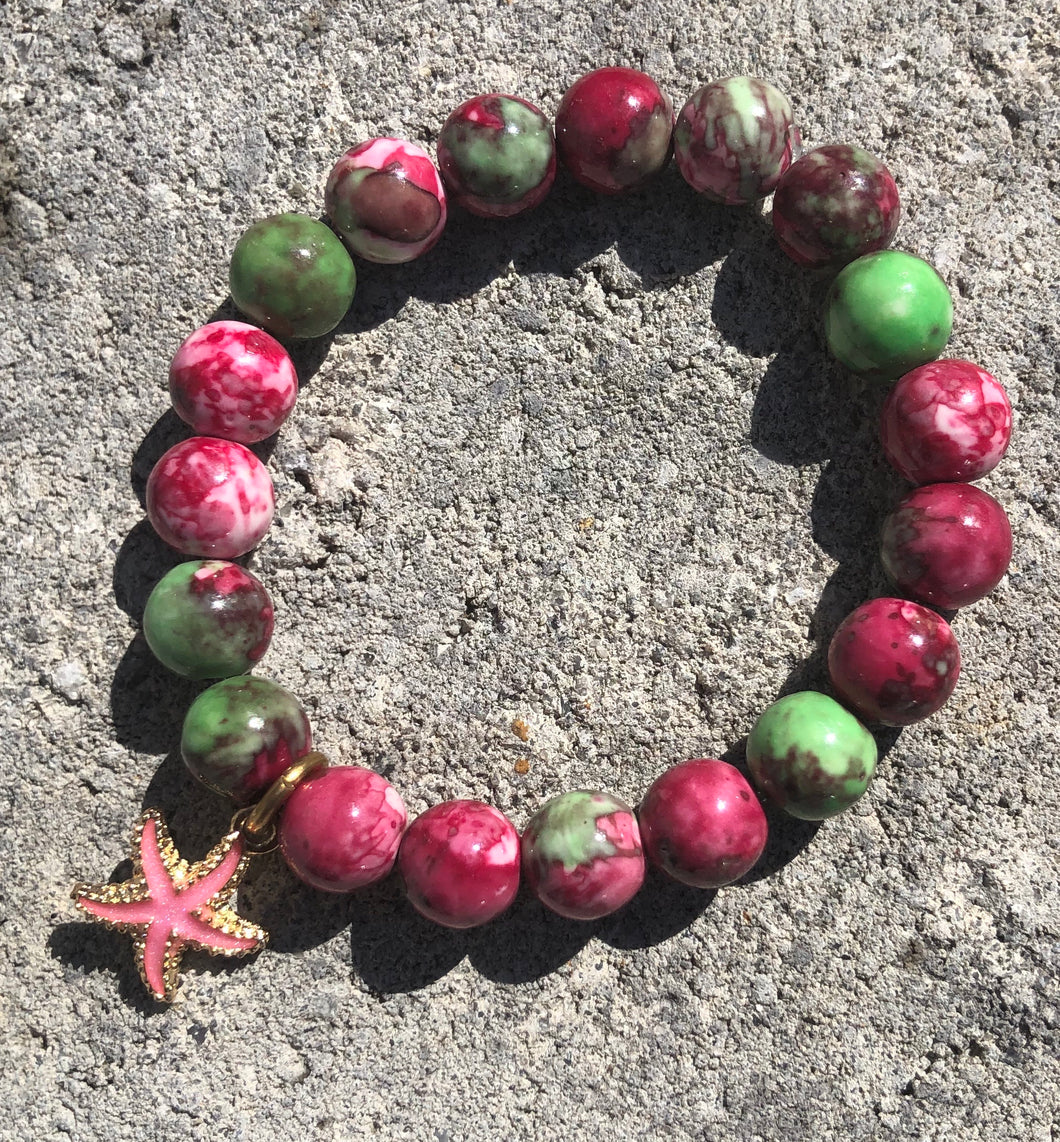10mm Plum & Green Watercolor Jade with Starfish