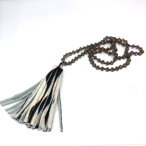 Smokey Quartz Hand-Knotted Rope Necklace