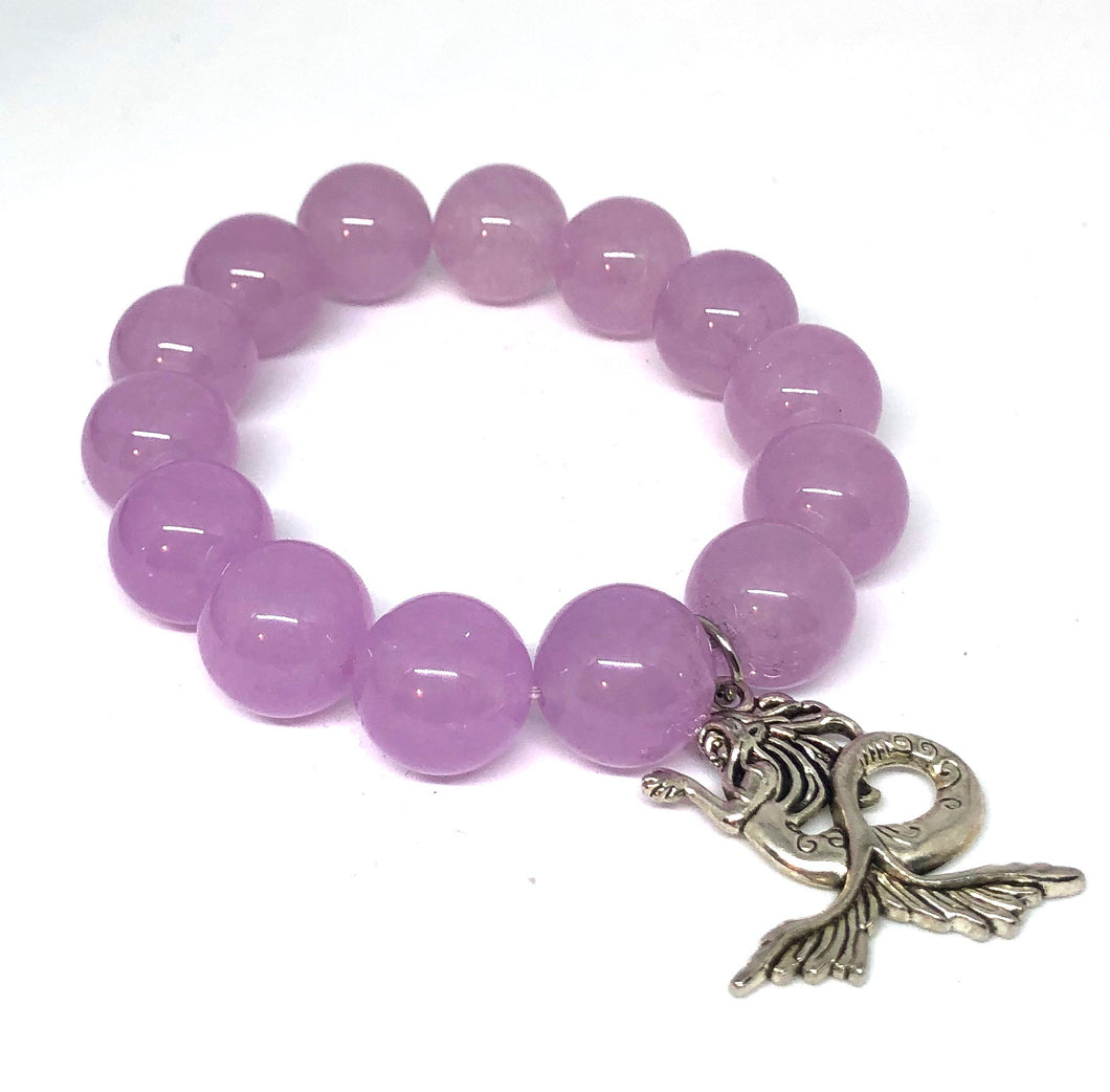 14mm Lilac Jade with Silver Mermaid