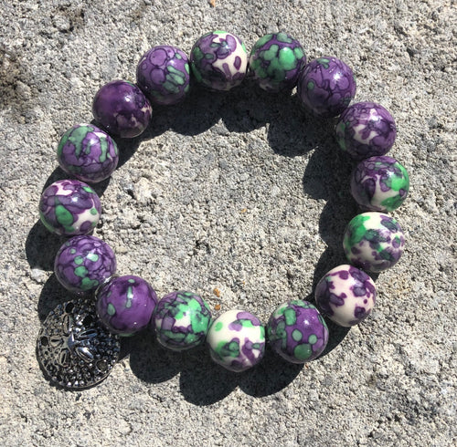 12mm Purple & Green Watercolor Jade with Silver Sand Dollar