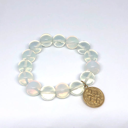 14mm Opalite Agate with Brass Eternal Knot Medal