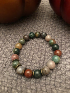 10mm Indian Agate with Bronze Metal Accents